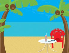 Beach Relaxation Stock Illustration