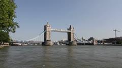 Tower Bridge, River Thames. London, United Kingdom, wide angle - stock footage