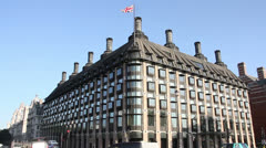 Portcullis House office building from British Members of Parliament Stock Footage