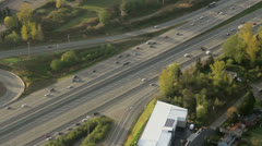 Large Interstate with Flowing Traffic Aerial 5 Stock Footage