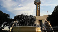 Fountain, Union Station, Reunion Tower Stock Footage