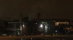 Washington DC, voimalaitos moottoritie, kuljetus, valaistu yöllä Arkistovideo