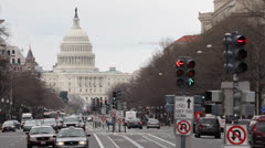 Stock Video Footage of Traffic Light Pennsylvania Avenue US Capitol Building Washington DC Cars Commute