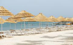 Stock Photo of the beach with white sand at luxury hotel, bodrum, turkey