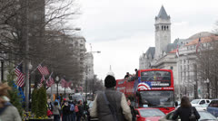 Cars Traffic Double-Decker Pennsylvania Avenue US Capitol Building Washington DC - stock footage