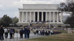 Lincoln Memorial National Mall Washington DC Pedestrians People Crowd Walking Stock Footage