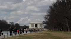 National Mall Lincoln Memorial Washington DC United States USA People Visiting Stock Footage