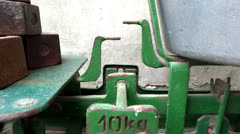 Close up old scale in use Stock Footage