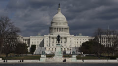 Dark Storm Clouds over United States Capitol Building, Washington DC US Congress Stock Footage