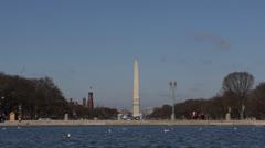 Washington DC Skyline, Monument, National Mall, Sunny Day Blue Sky, USA Memorial Stock Footage