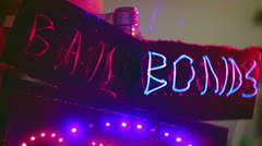 Bail bonds bondsman neon sign business 3 - stock footage