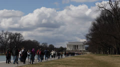 Abraham Lincoln Memorial Washington DC United States USA Tourists Visiting Day Stock Footage