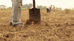 Working soil slow motion tight shot Stock Footage