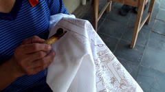 Hand painting of the Javanese traditional batik. Stock Footage