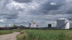 Ship, tanker moored at quay + zoom out Stock Footage
