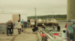 lobster fishermen emptying their boats in the harbor - stock footage