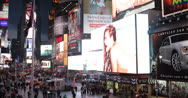 Stock Video Footage of UHD Ultra HD 4K Times Square Aerial New York City NYC Crowded Rush Hour Street