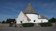 Nyker roundchurch at the island Bornholm, Denmark Stock Footage