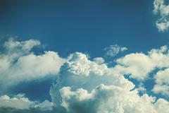 Stock Photo of sky with fluffy cumulus clouds