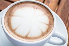 hot cafe mocha cup with milk microfoam - stock photo