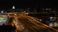 Aerial View Traffic Urban Freeway, night, federal, government, washington d.c. Footage