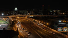 Aerial View Traffic Urban Freeway, night, federal, government, washington d.c. Stock Footage