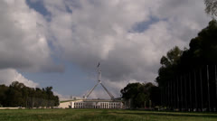 Stock Video Footage of clouds over Australian Parliament House (APH) in Canberra