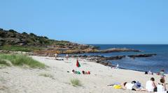 Beachlife at the danish island Bornholm Stock Footage
