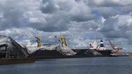 Stock Video Footage of Transshipment of coal in Dutch port + moored ship