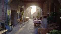 Restaurant in old italian town Stock Footage