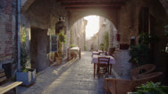 Stock Video Footage of Restaurant in old italian town
