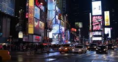 Ultra HD 4K NYC Urban Buildings, Modern Midtown Manhattan, People Times Square Stock Footage