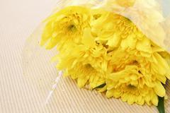 yellow chrysanthemum in the bouquet - stock photo