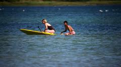 Paddle surf at Bornholm - danish isle Stock Footage