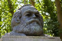 Karl Marx Bust in Highgate Cemetery - stock photo