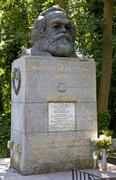 Karl Marx Bust in Highgate Cemetery Stock Photos