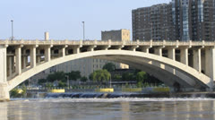 Mississippi River 3rd ave bridge Stock Footage