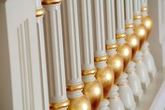 White and gold balustrade pattern Stock Photos