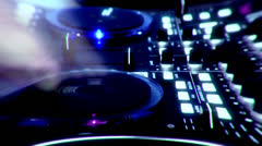 Dj Tweak Controls On Record Deck In Night Club timelapse  Stock Footage