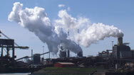 Stock Video Footage of Industrial landscape Royal Dutch Blast Furnaces and Steelworks + zoom out port