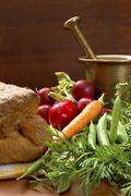 tasty fresh vegetable and crunchy home made bread - stock photo