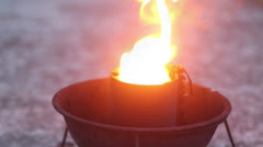 Memorial flame close-up Stock Footage