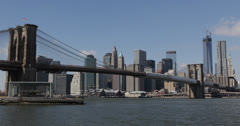Ultra HD 4K One World Trade Center Manhattan Skyline Brooklyn Bridge New York Stock Footage