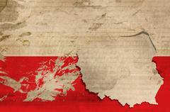 illustration of old poland flag - stock illustration