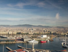 Barcelona view spain mediterranean harbour Stock Footage