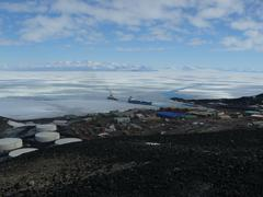 High above McMurdo Station Antarctica - Re-supply - stock photo