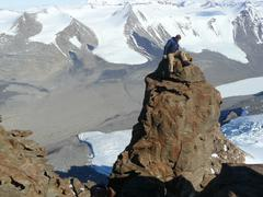 High Altitude Contemplation in Antarctica. - stock photo