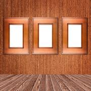 wooden photo frame - stock photo