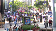 Stock Video Footage of Crowded Santa Monica 3rd Street Promenade Time Lapse