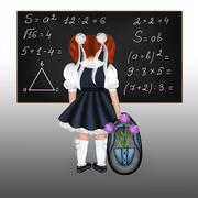 Red-haired schoolgirl Stock Illustration